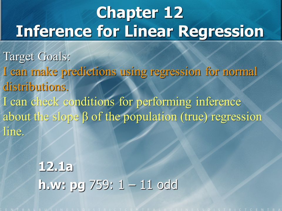 Chapter 12 Inference for Linear Regression