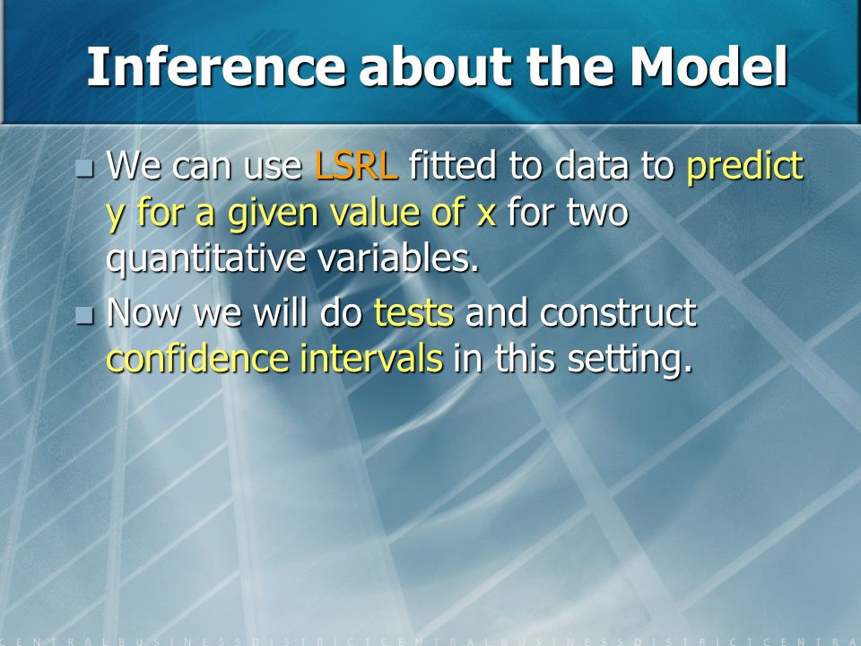 Inference about the Model