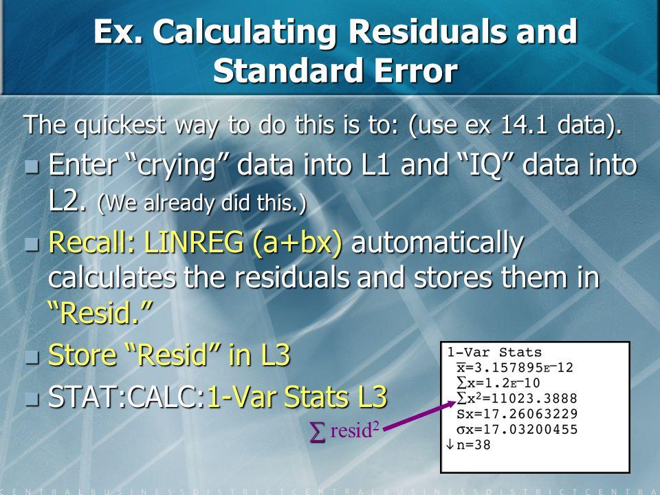 Ex. Calculating Residuals and Standard Error
