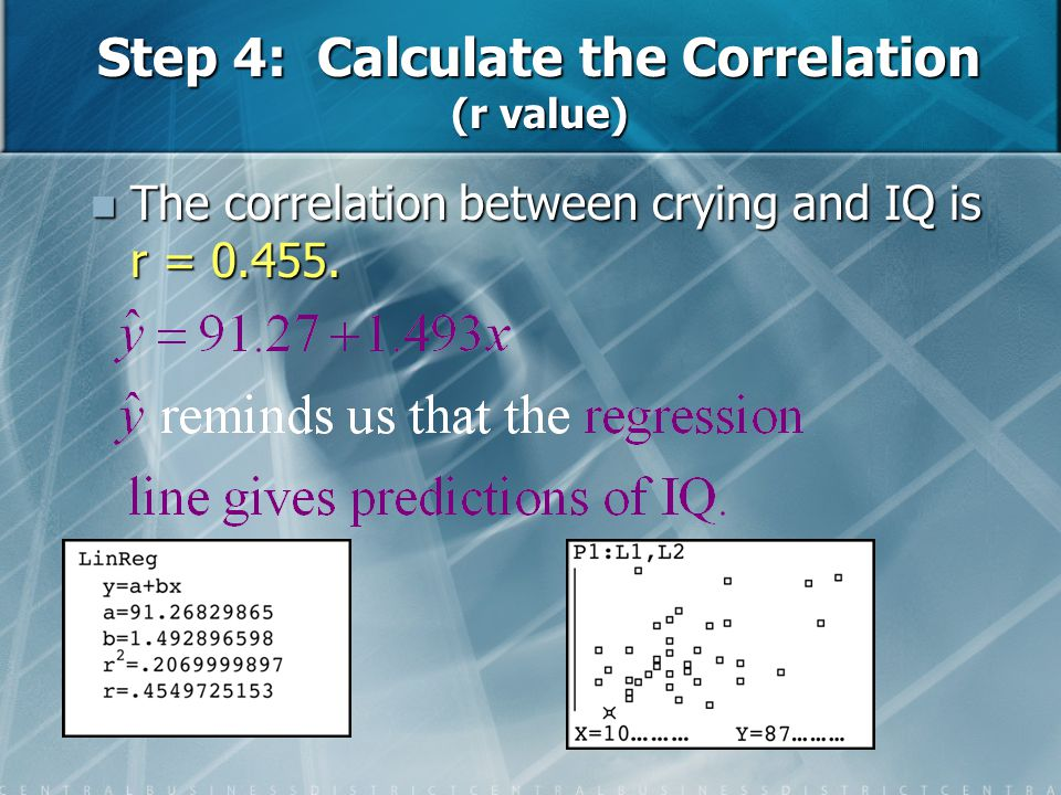Step 4: Calculate the Correlation (r value)