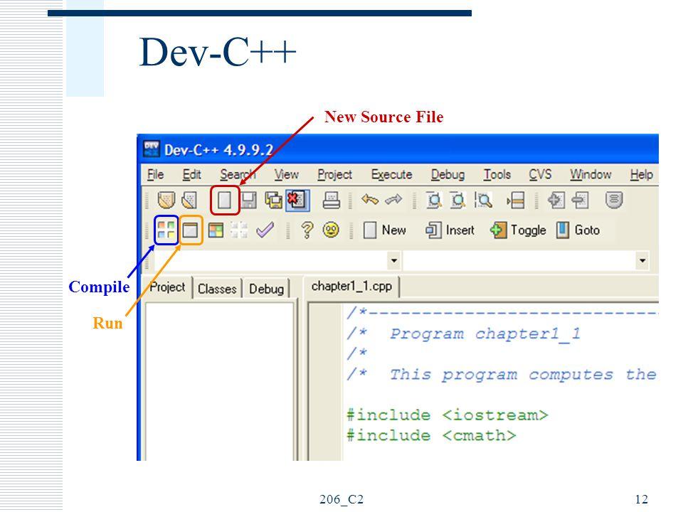 Dev-C++ New Source File Compile Run 206_C2