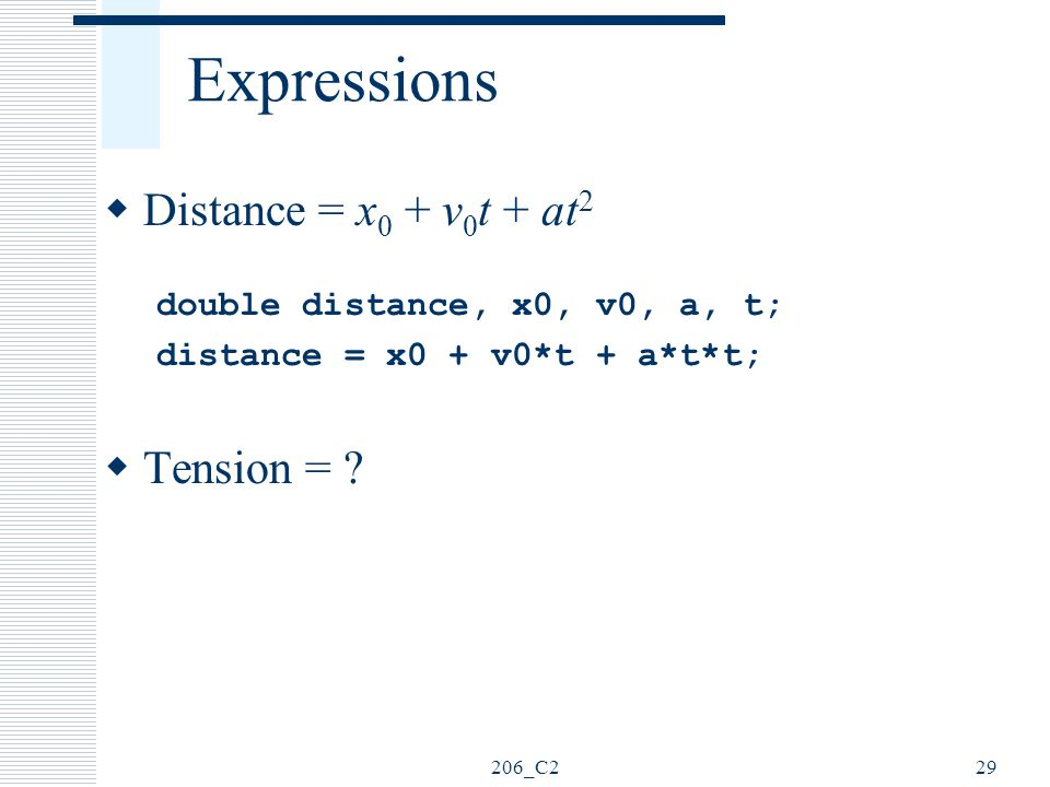 Expressions Distance = x0 + v0t + at2 Tension =
