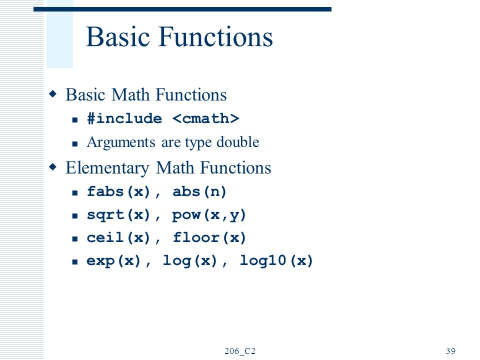 Basic Functions Basic Math Functions Elementary Math Functions