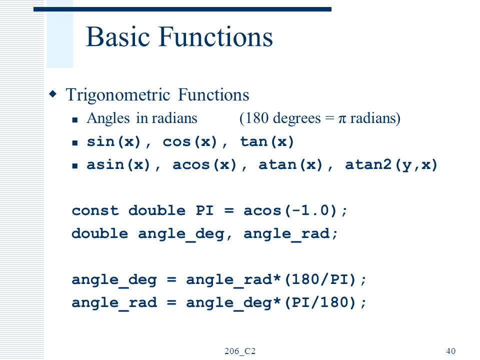 Basic Functions Trigonometric Functions