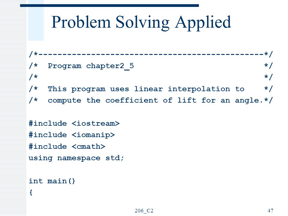 Problem Solving Applied