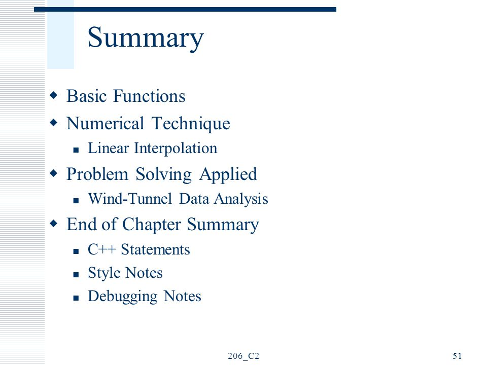 Summary Basic Functions Numerical Technique Problem Solving Applied