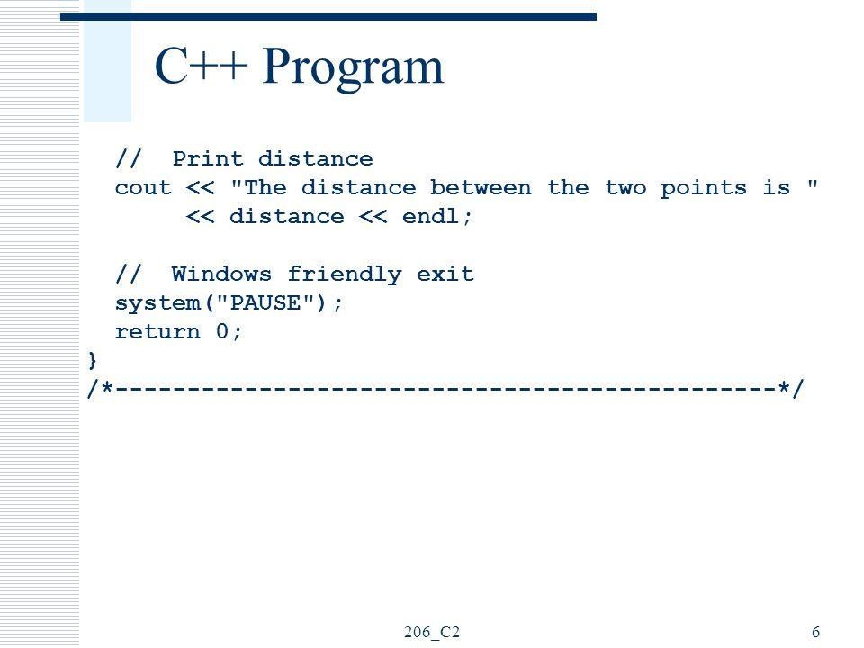 C++ Program // Print distance