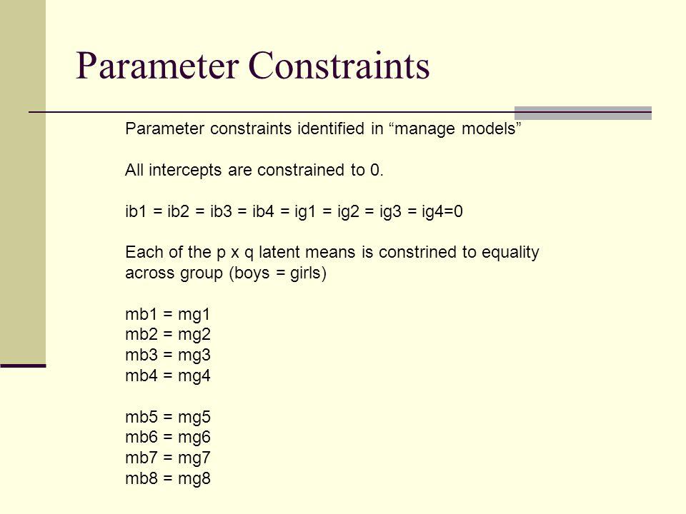 Parameter Constraints