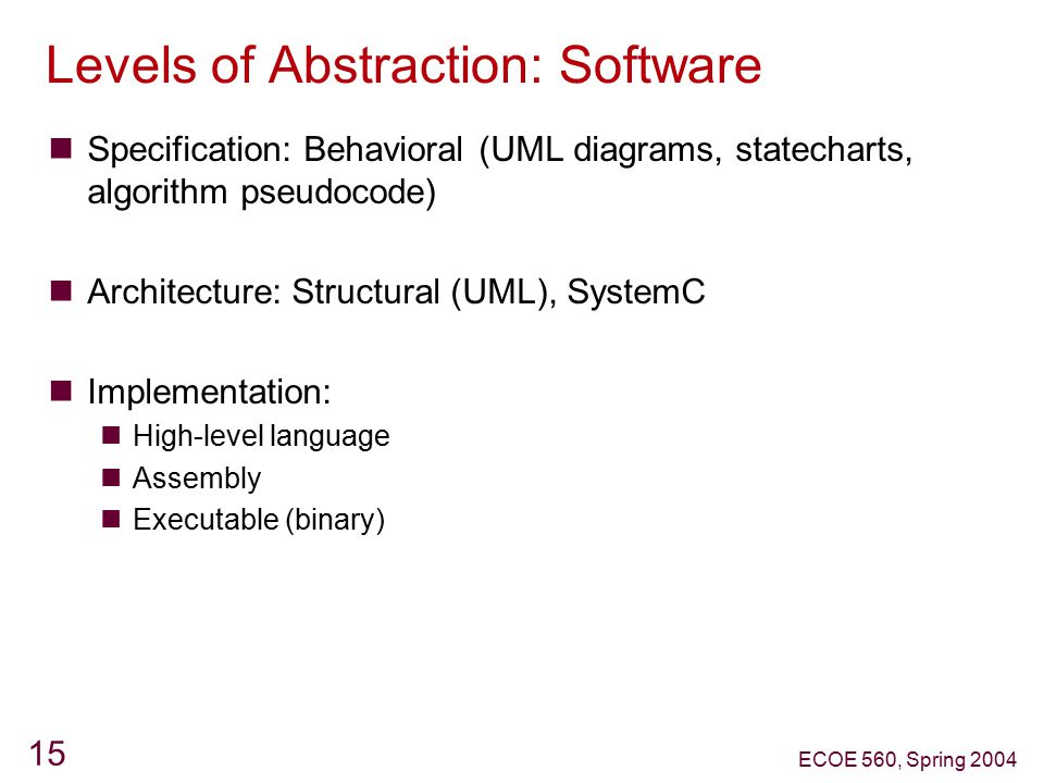 Levels of Abstraction: Software