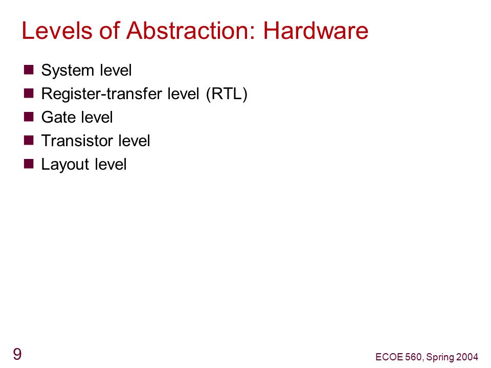 Levels of Abstraction: Hardware