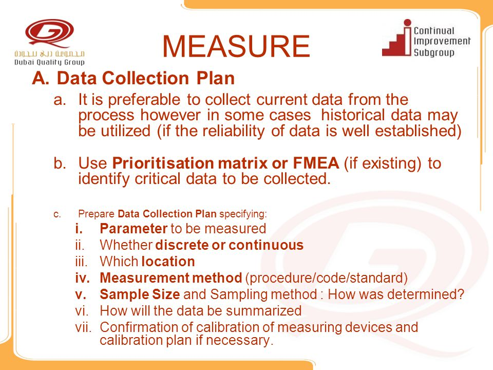 MEASURE Data Collection Plan