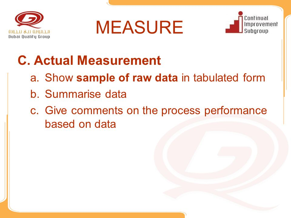 MEASURE Actual Measurement Show sample of raw data in tabulated form
