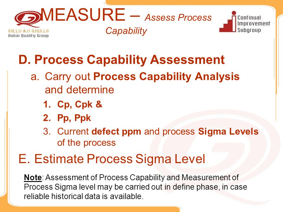 MEASURE – Assess Process Capability