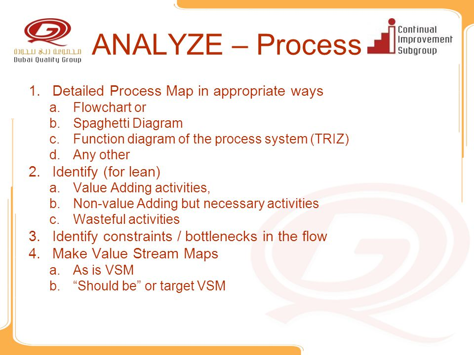 ANALYZE – Process Detailed Process Map in appropriate ways