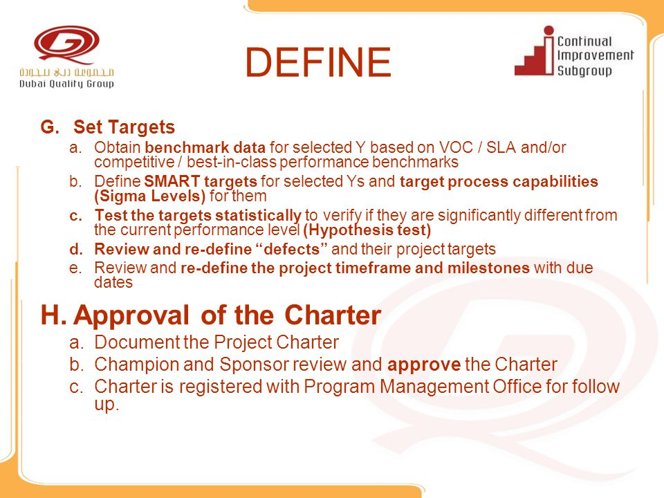 DEFINE Approval of the Charter Set Targets