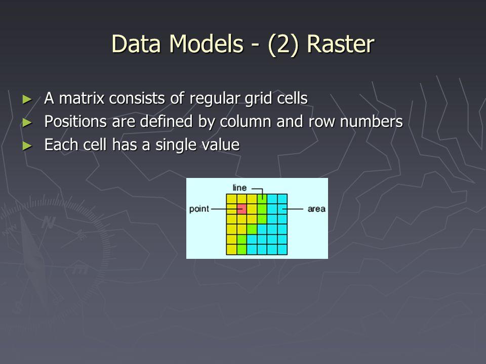 Data Models - (2) Raster A matrix consists of regular grid cells