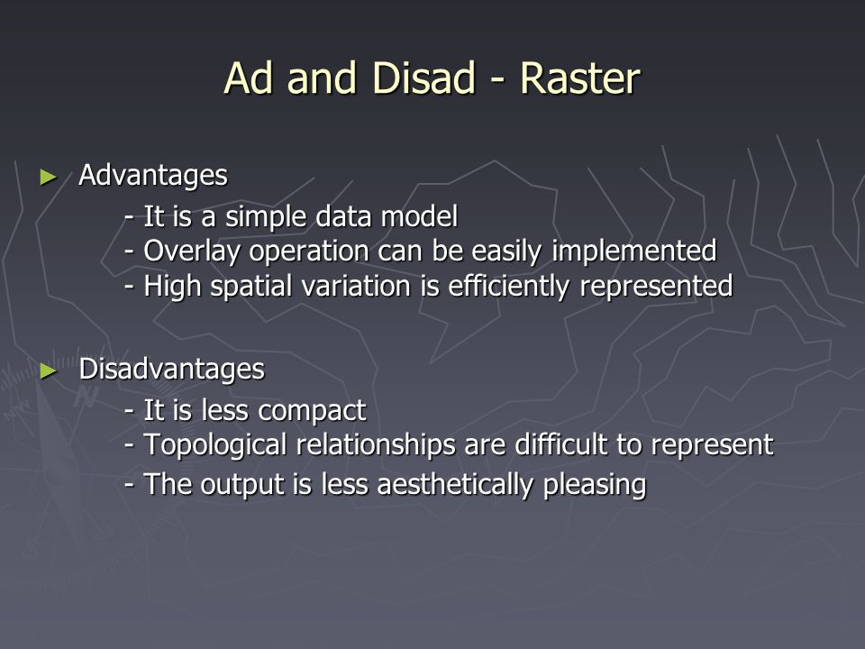Ad and Disad - Raster Advantages