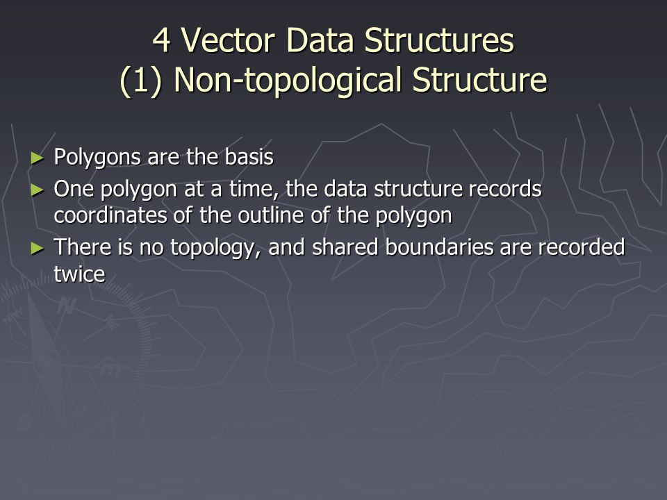 4 Vector Data Structures (1) Non-topological Structure