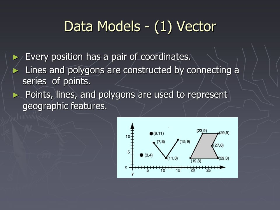 Data Models - (1) Vector Every position has a pair of coordinates.