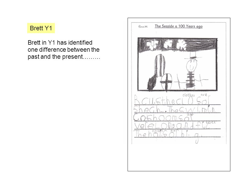 Brett Y1 Brett in Y1 has identified one difference between the past and the present………