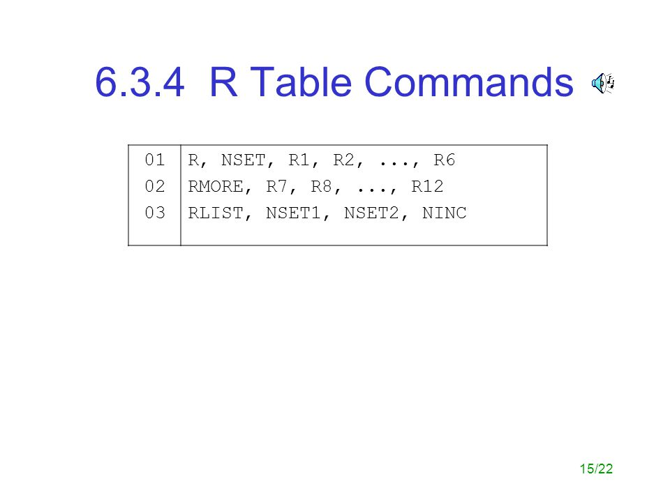 6.3.4 R Table Commands 01 02 03 R, NSET, R1, R2, ..., R6
