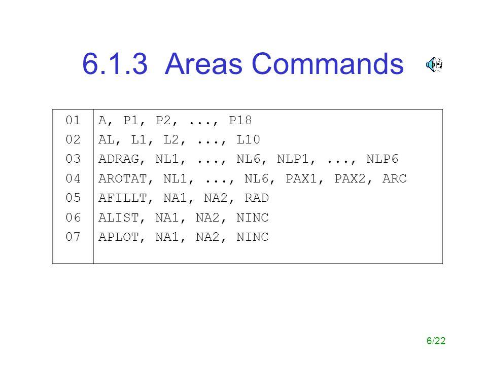 6.1.3 Areas Commands 01. 02. 03. 04. 05. 06. 07. A, P1, P2, ..., P18. AL, L1, L2, ..., L10.