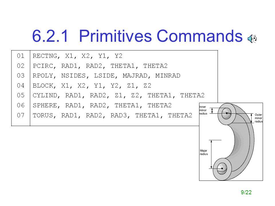6.2.1 Primitives Commands 01 02 03 04 05 06 07 RECTNG, X1, X2, Y1, Y2