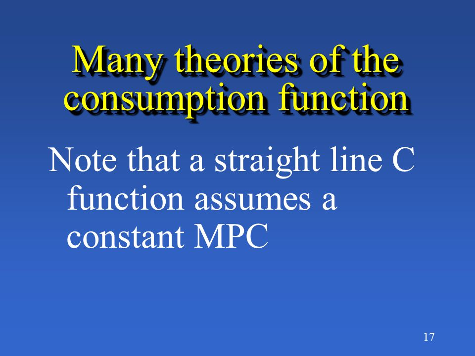 Many theories of the consumption function
