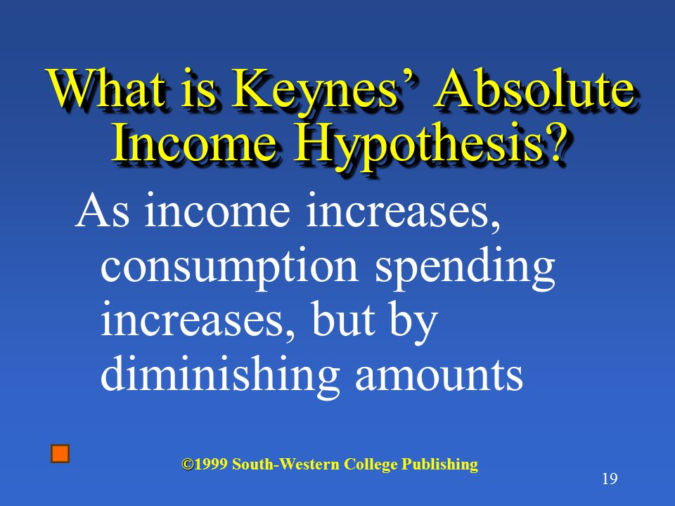 What is Keynes' Absolute Income Hypothesis