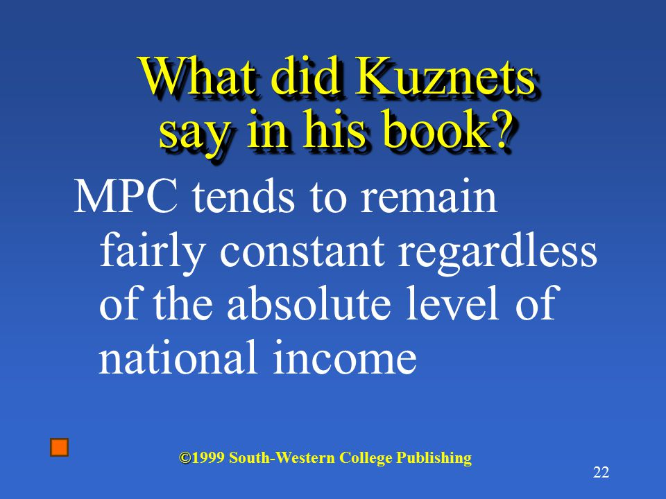 What did Kuznets say in his book