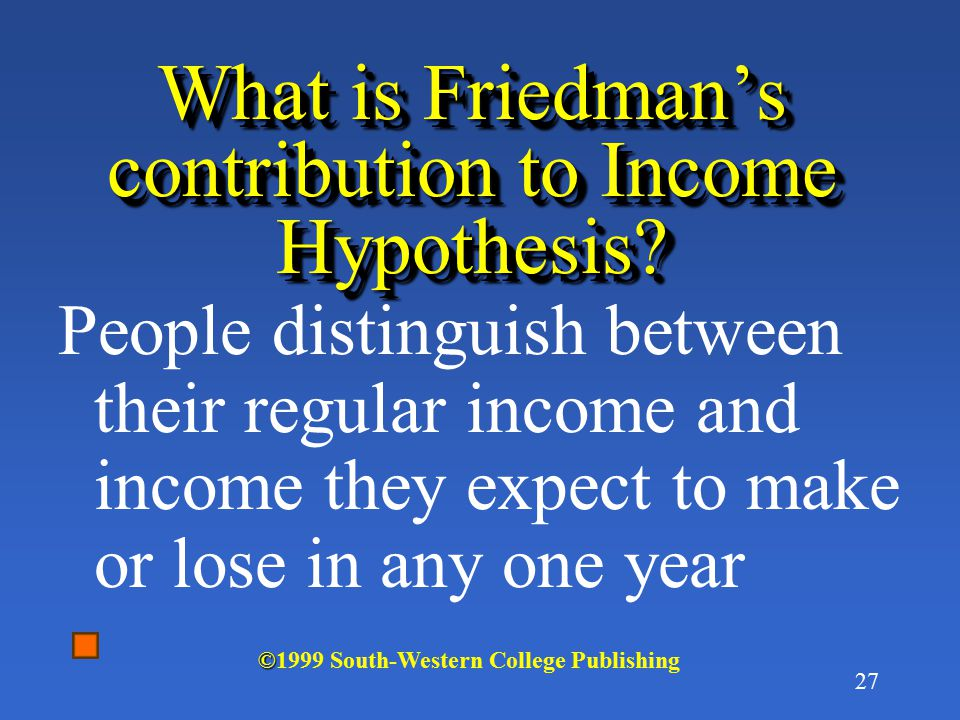 What is Friedman's contribution to Income Hypothesis