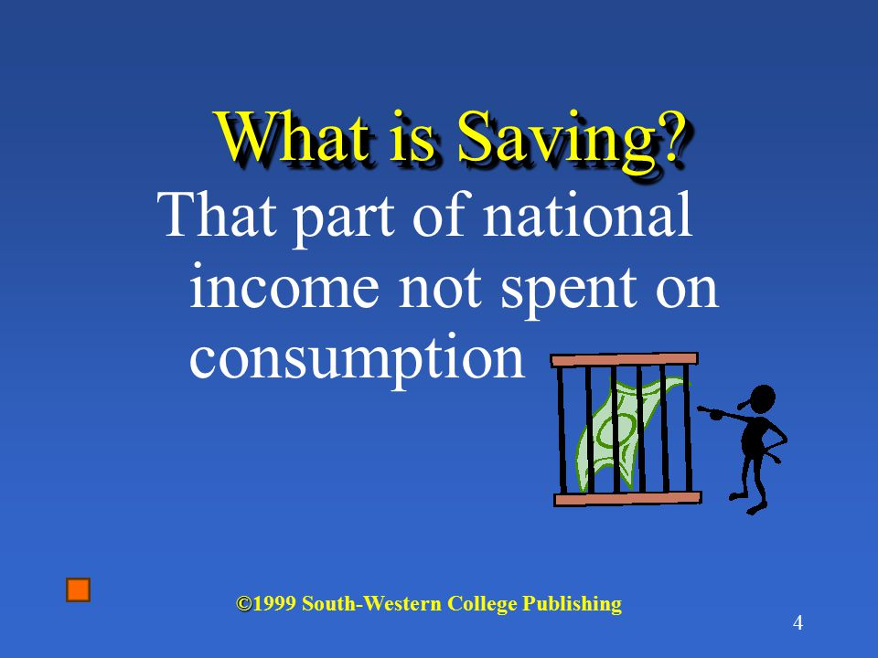 What is Saving That part of national income not spent on consumption