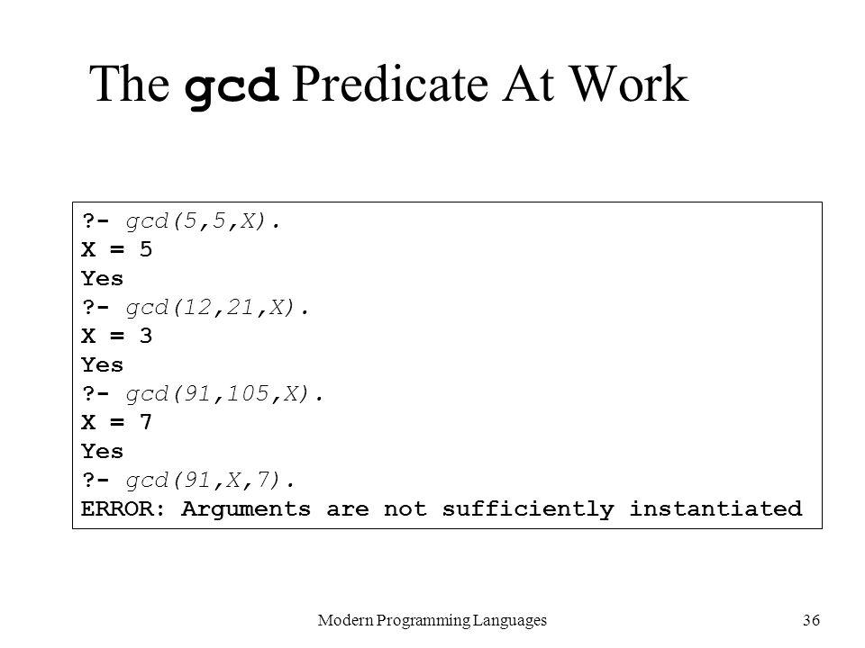 The gcd Predicate At Work