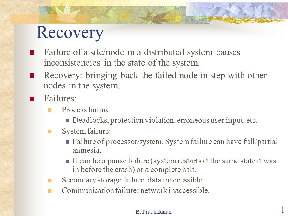 Recovery Failure of a site/node in a distributed system causes inconsistencies in the state of the system.