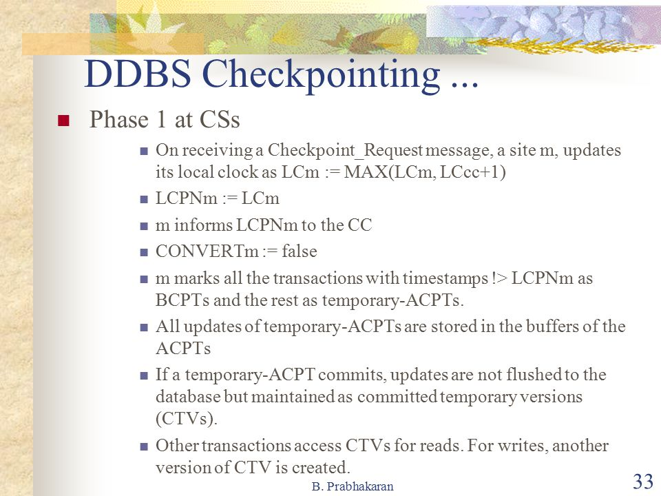 DDBS Checkpointing ... Phase 1 at CSs
