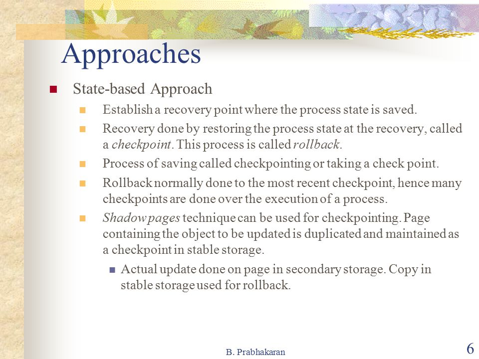 Approaches State-based Approach