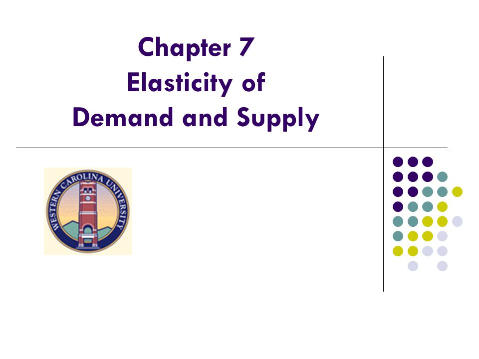 Chapter 7 Elasticity of Demand and Supply