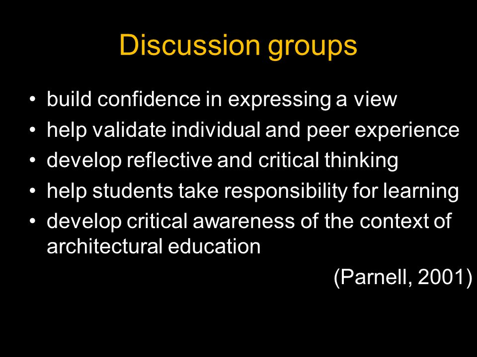 Discussion groups build confidence in expressing a view
