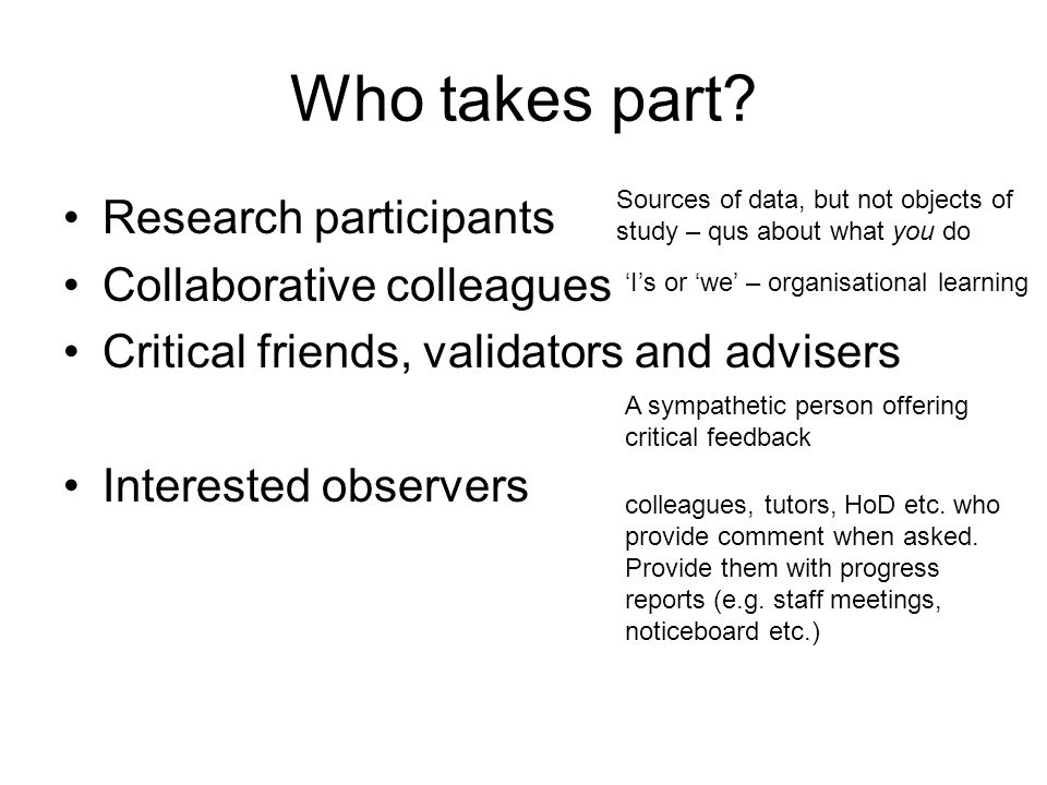 Who takes part Research participants Collaborative colleagues