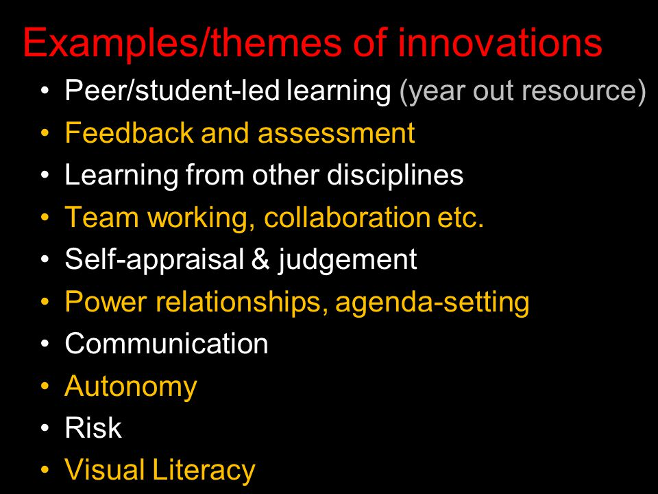 Examples/themes of innovations