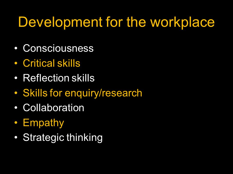 Development for the workplace