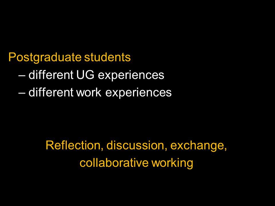 Postgraduate students – different UG experiences