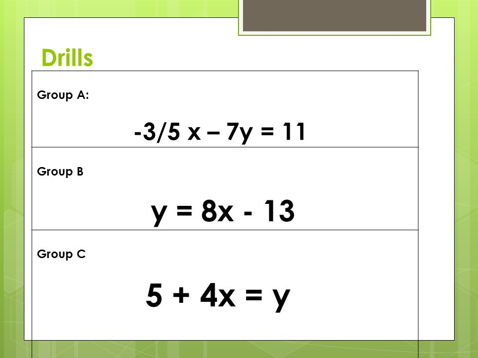 y = 8x - 13 Drills Group A: -3/5 x – 7y = 11 Group B Group C