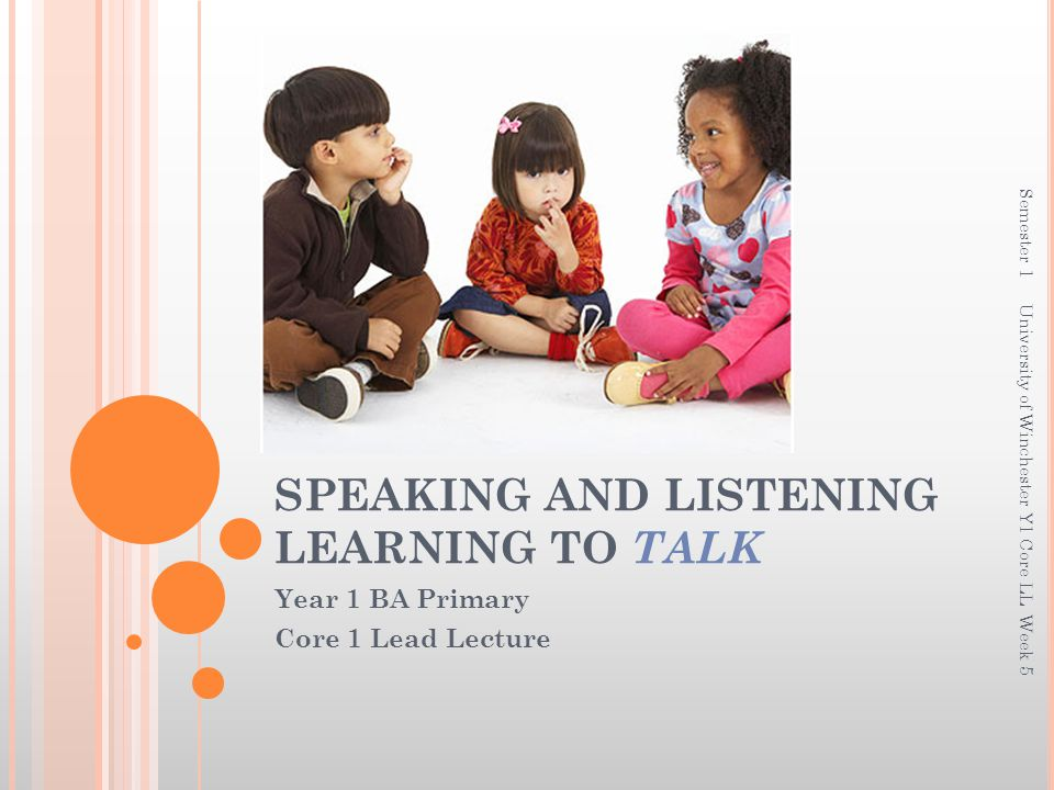 SPEAKING AND LISTENING LEARNING TO TALK