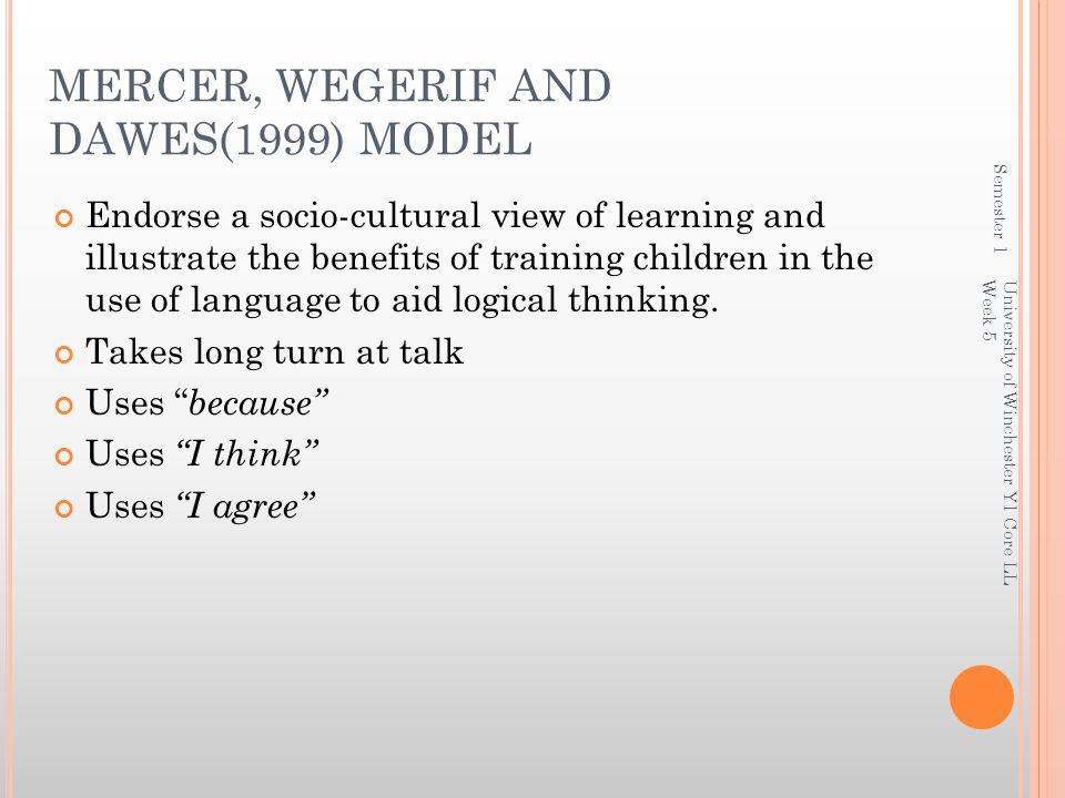MERCER, WEGERIF AND DAWES(1999) MODEL