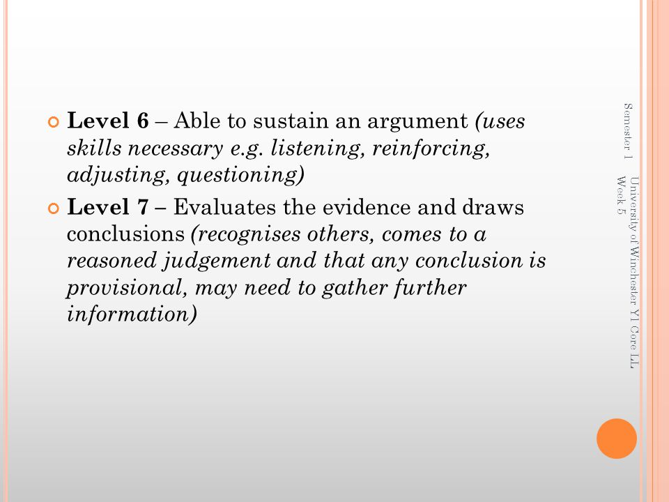 Semester 1 Level 6 – Able to sustain an argument (uses skills necessary e.g. listening, reinforcing, adjusting, questioning)