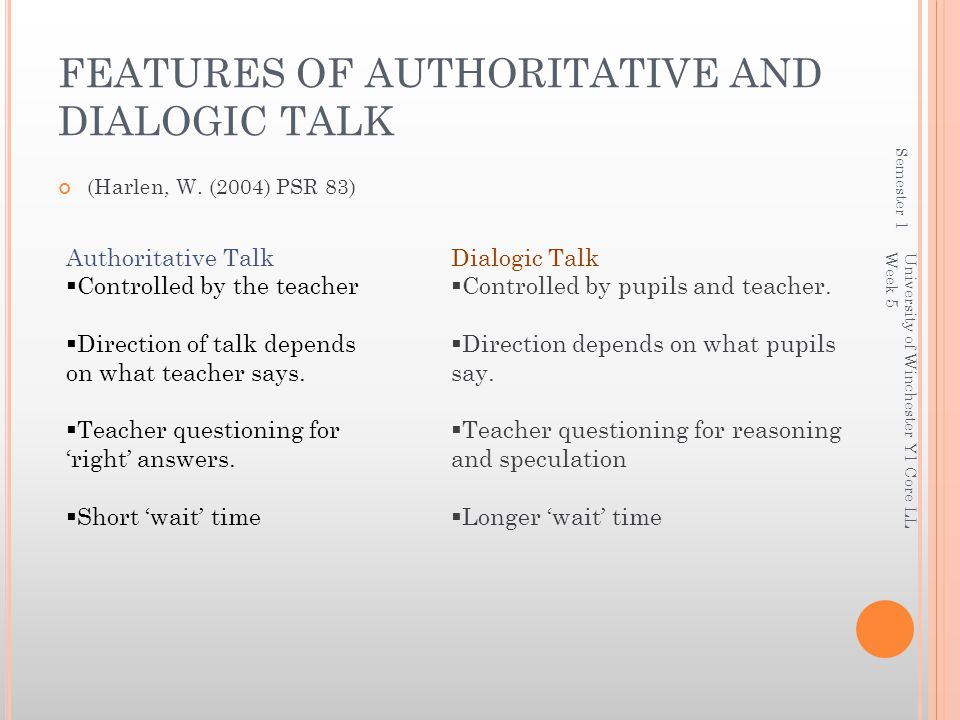 FEATURES OF AUTHORITATIVE AND DIALOGIC TALK