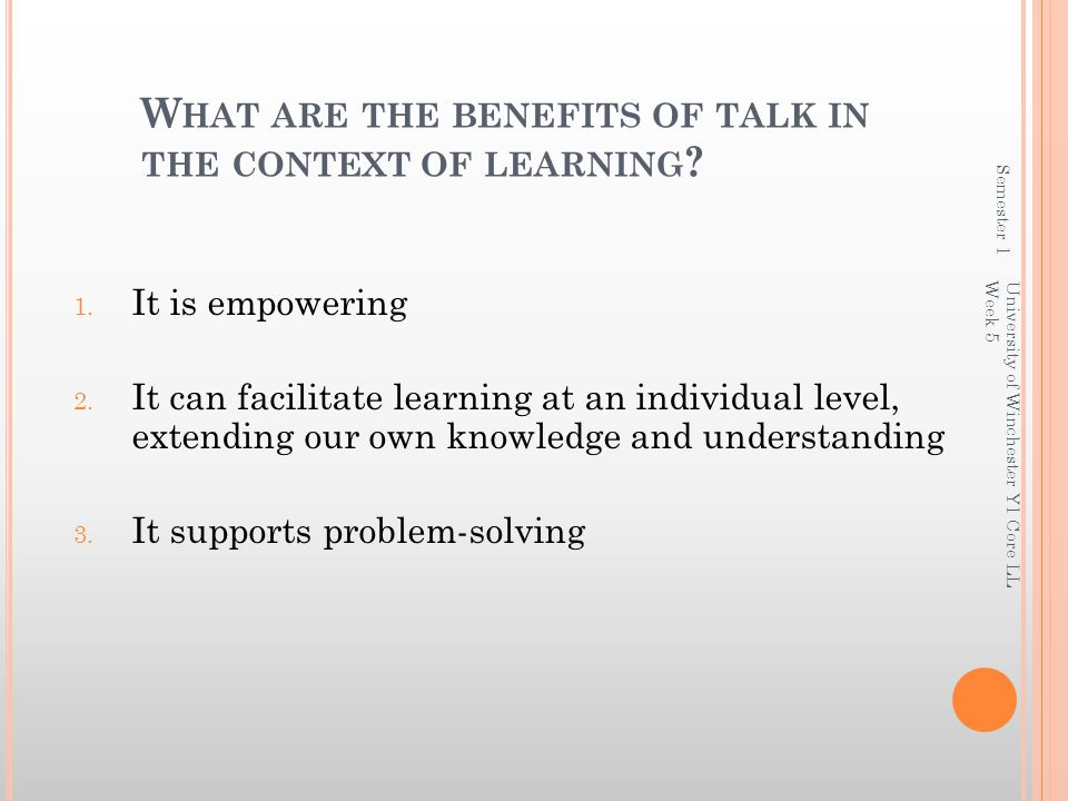 What are the benefits of talk in the context of learning