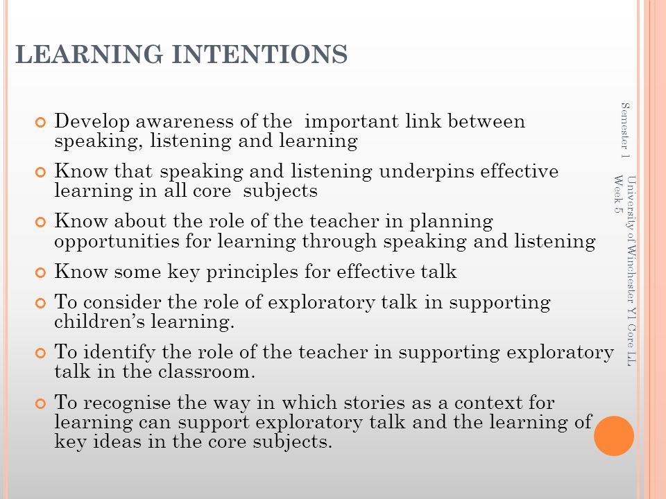 LEARNING INTENTIONS Semester 1. Develop awareness of the important link between speaking, listening and learning.