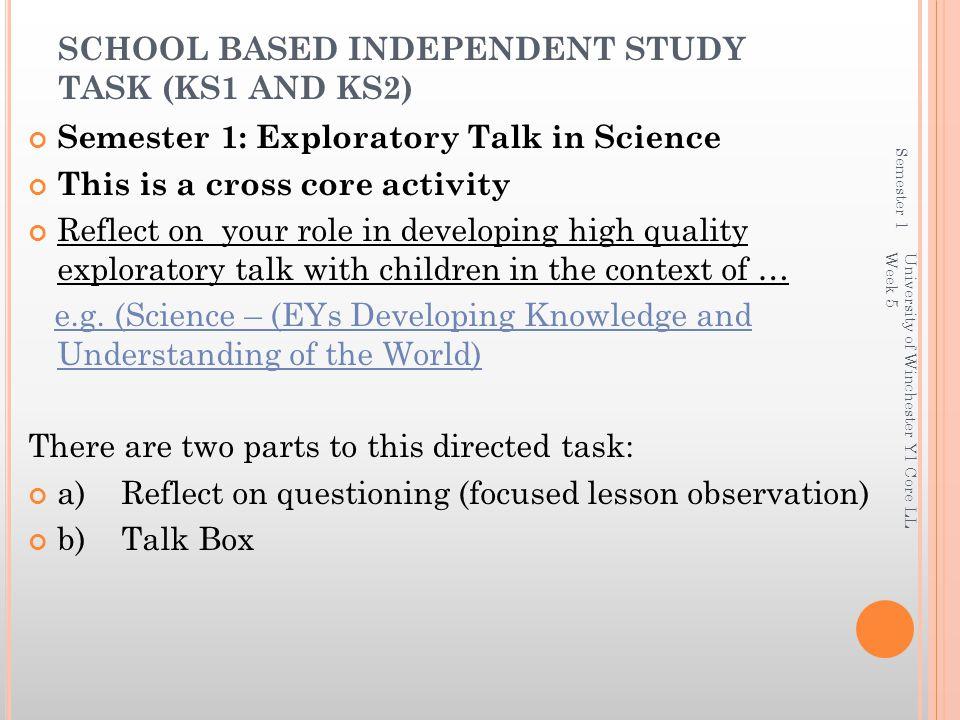 SCHOOL BASED INDEPENDENT STUDY TASK (KS1 AND KS2)